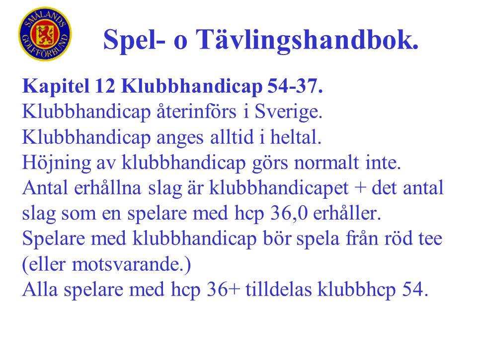 Kapitel 12 Klubbhandicap 54-37. Klubbhandicap återinförs i Sverige. Klubbhandicap anges alltid i heltal. Höjning av klubbhandicap görs normalt inte. A