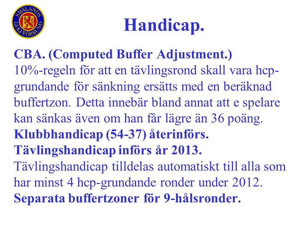 CBA. (Computed Buffer Adjustment.) 10%-regeln för att en tävlingsrond skall vara hcp- grundande för sänkning ersätts med en beräknad buffertzon. Detta