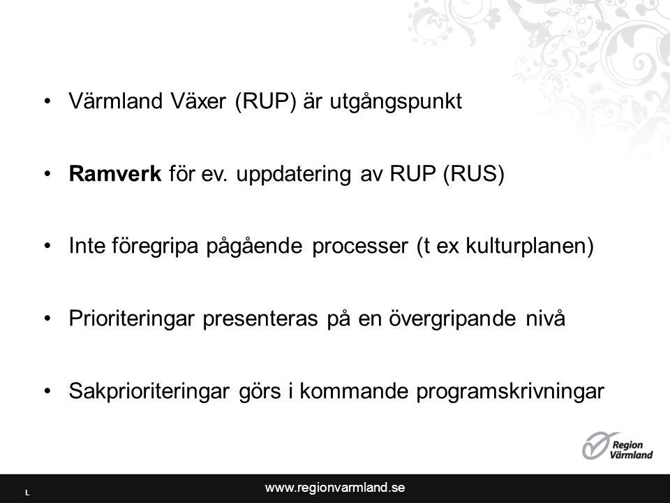 www.regionvarmland.se •Värmland Växer (RUP) är utgångspunkt •Ramverk för ev.