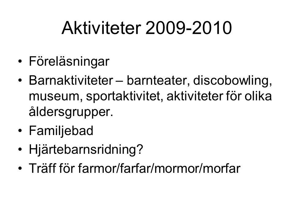Aktiviteter 2009-2010 •Föreläsningar •Barnaktiviteter – barnteater, discobowling, museum, sportaktivitet, aktiviteter för olika åldersgrupper. •Familj