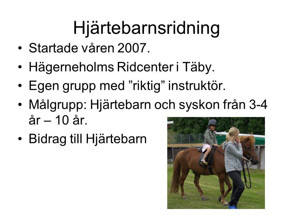 """Hjärtebarnsridning •Startade våren 2007. •Hägerneholms Ridcenter i Täby. •Egen grupp med """"riktig"""" instruktör. •Målgrupp: Hjärtebarn och syskon från 3-"""