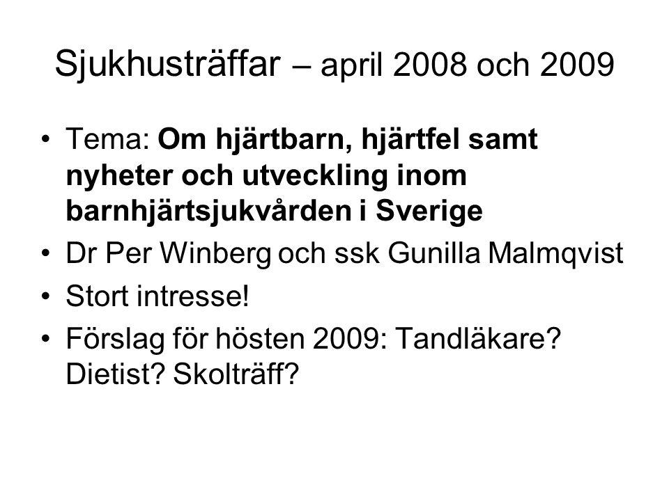 Sjukhusträffar – april 2008 och 2009 •Tema: Om hjärtbarn, hjärtfel samt nyheter och utveckling inom barnhjärtsjukvården i Sverige •Dr Per Winberg och