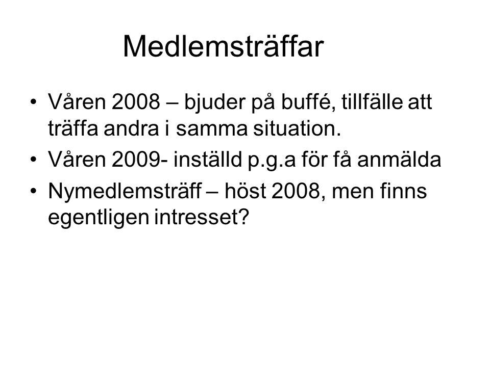 Medlemsträffar •Våren 2008 – bjuder på buffé, tillfälle att träffa andra i samma situation. •Våren 2009- inställd p.g.a för få anmälda •Nymedlemsträff
