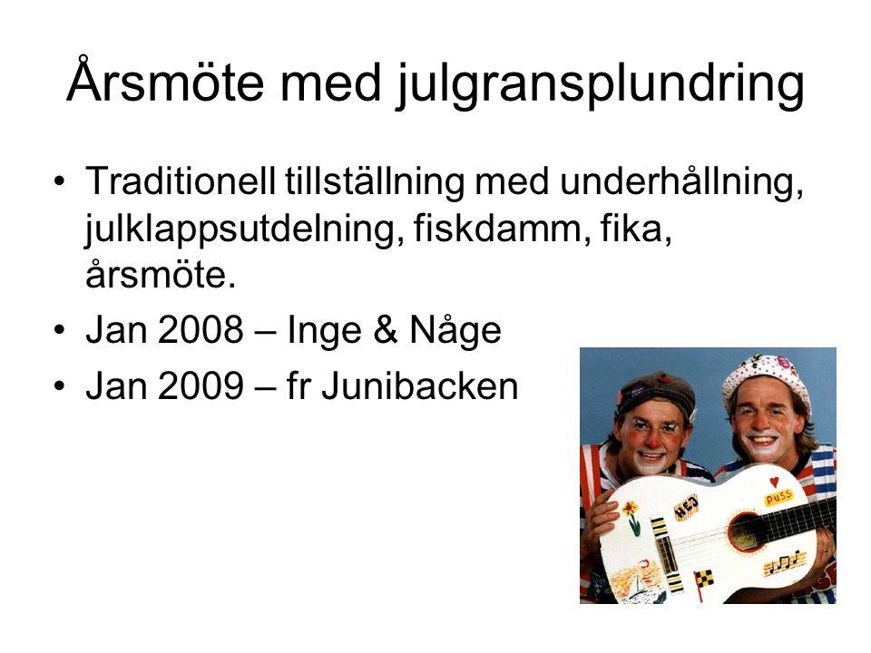 Årsmöte med julgransplundring •Traditionell tillställning med underhållning, julklappsutdelning, fiskdamm, fika, årsmöte. •Jan 2008 – Inge & Någe •Jan