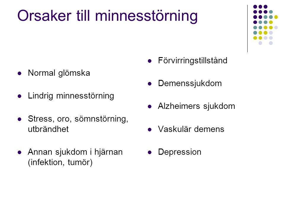 Orsaker till minnesstörning  Normal glömska  Lindrig minnesstörning  Stress, oro, sömnstörning, utbrändhet  Annan sjukdom i hjärnan (infektion, tu
