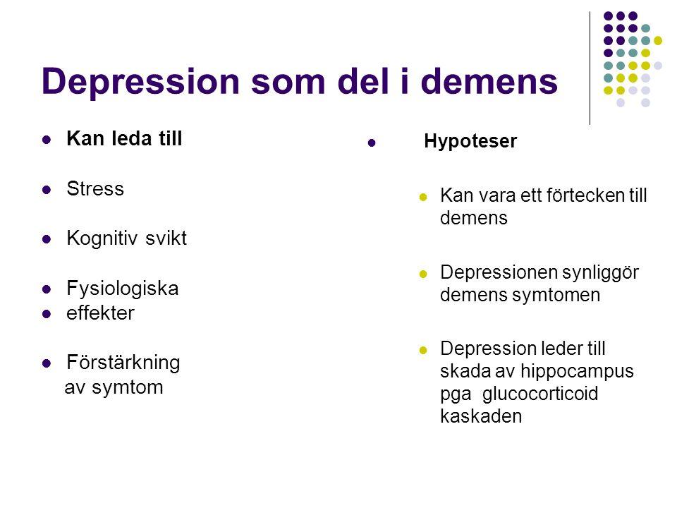Depression som del i demens  Kan leda till  Stress  Kognitiv svikt  Fysiologiska  effekter  Förstärkning av symtom  Hypoteser  Kan vara ett fö