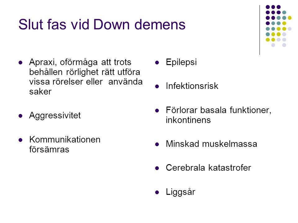 Slut fas vid Down demens  Apraxi, oförmåga att trots behållen rörlighet rätt utföra vissa rörelser eller använda saker  Aggressivitet  Kommunikatio