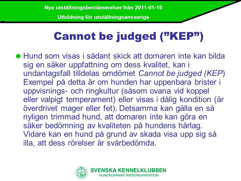 Nya utställningsbestämmelser från 2011-01-10 Utbildning för utställningsansvariga Hederspris (Hp) Kan endast tilldelas:  särskilt lovande valp.