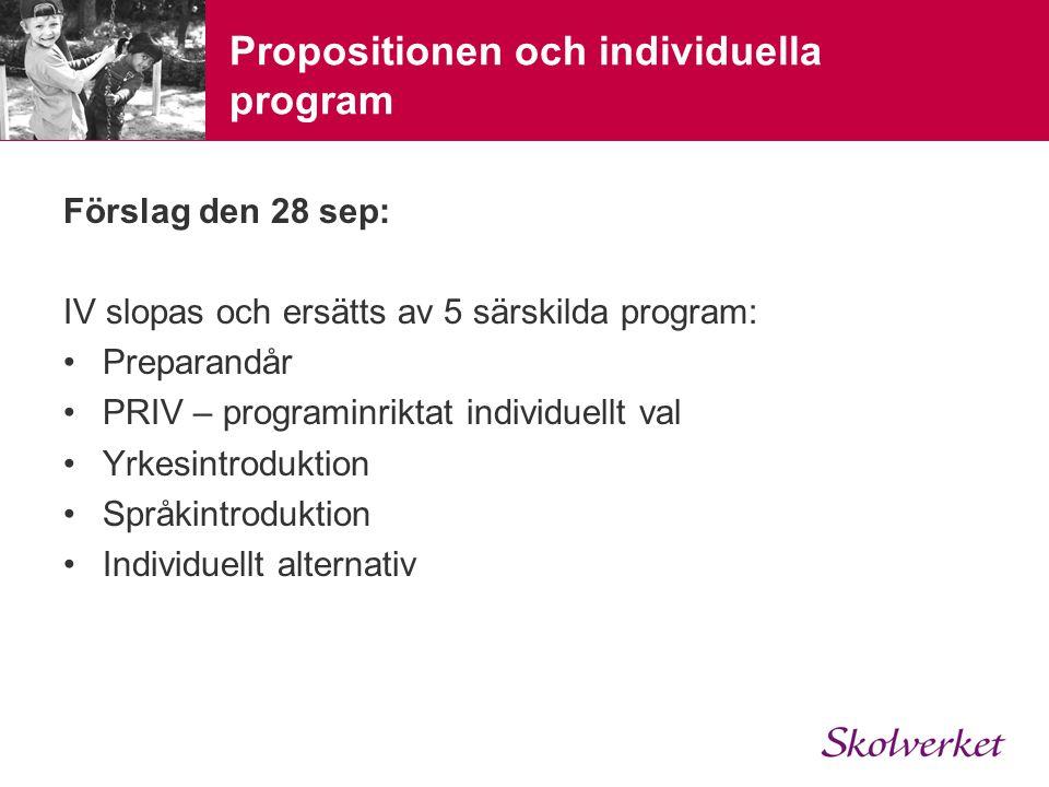Propositionen och individuella program Förslag den 28 sep: IV slopas och ersätts av 5 särskilda program: •Preparandår •PRIV – programinriktat individuellt val •Yrkesintroduktion •Språkintroduktion •Individuellt alternativ
