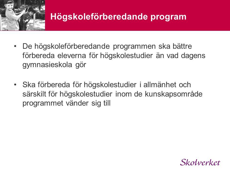 Högskoleförberedande program •Ekonomiprogrammet •Estetiska programmet •Humanistiska programmet •Naturvetenskapsprogrammet •Samhällsvetenskapsprogrammet •Teknikprogrammet