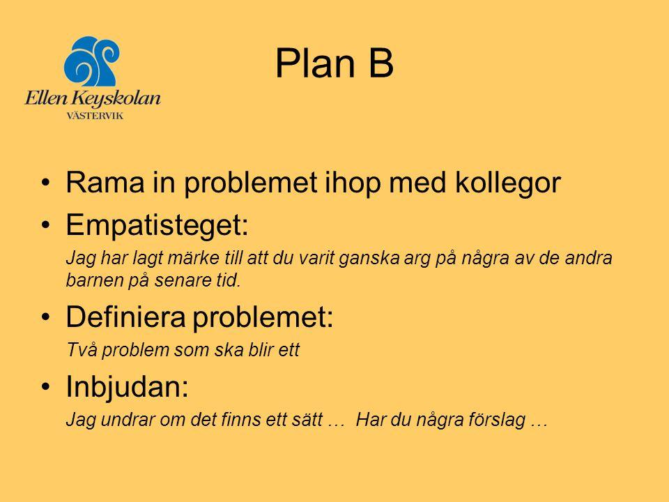 Plan B •Rama in problemet ihop med kollegor •Empatisteget: Jag har lagt märke till att du varit ganska arg på några av de andra barnen på senare tid.