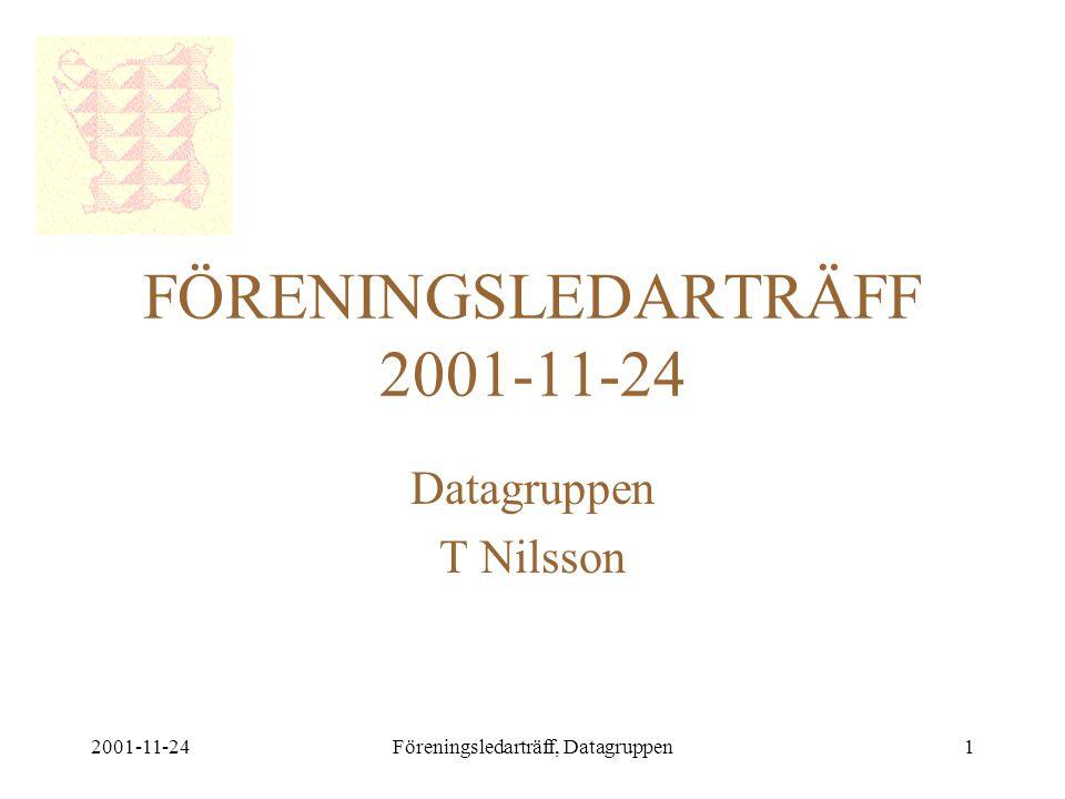 2001-11-24Föreningsledarträff, Datagruppen1 FÖRENINGSLEDARTRÄFF 2001-11-24 Datagruppen T Nilsson