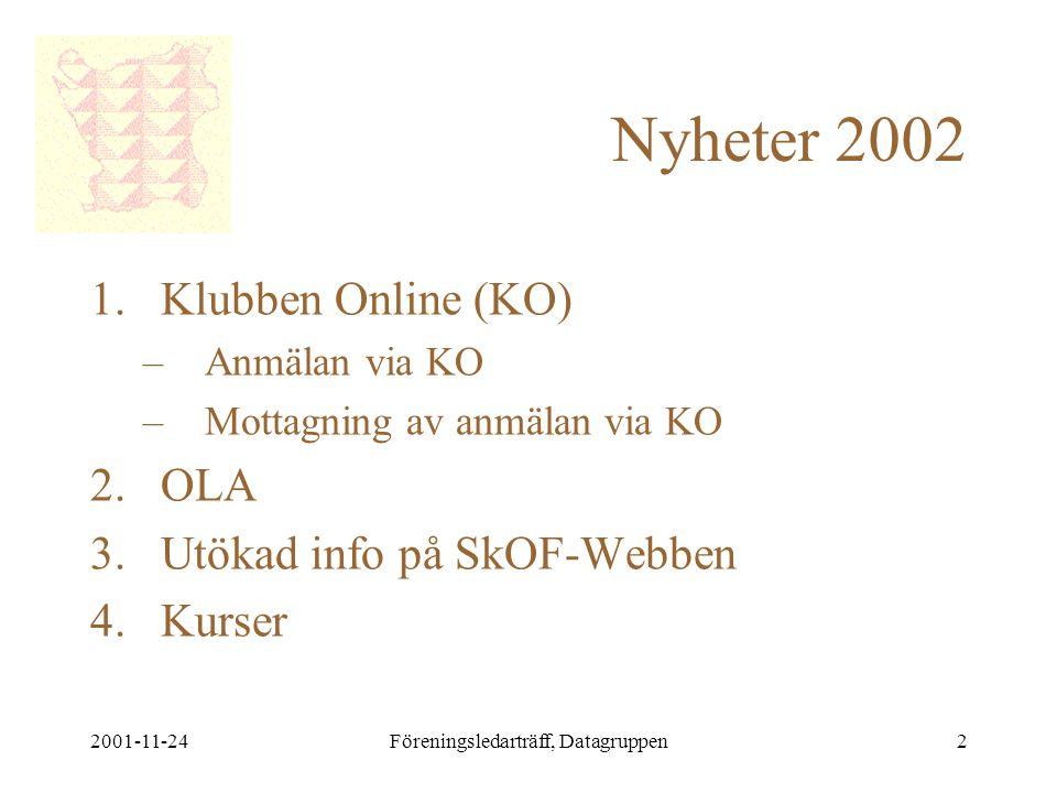 2001-11-24Föreningsledarträff, Datagruppen2 Nyheter 2002 1.Klubben Online (KO) –Anmälan via KO –Mottagning av anmälan via KO 2.OLA 3.Utökad info på SkOF-Webben 4.Kurser