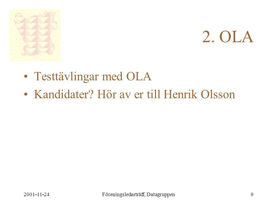 2001-11-24Föreningsledarträff, Datagruppen9 2. OLA •Testtävlingar med OLA •Kandidater.