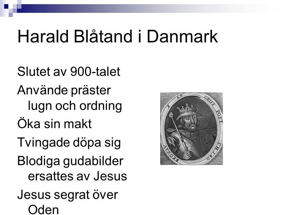 Harald Blåtand i Danmark Slutet av 900-talet Använde präster lugn och ordning Öka sin makt Tvingade döpa sig Blodiga gudabilder ersattes av Jesus Jesus segrat över Oden