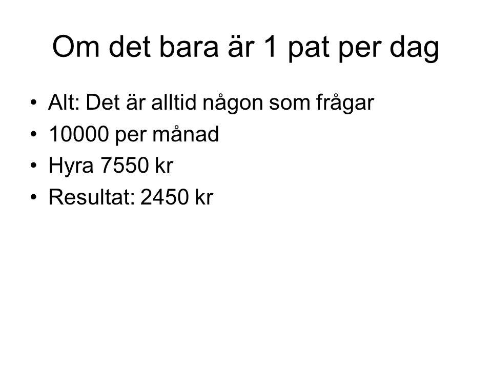 Om det bara är 1 pat per dag •Alt: Det är alltid någon som frågar •10000 per månad •Hyra 7550 kr •Resultat: 2450 kr