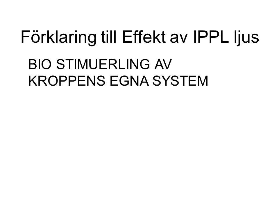 Förklaring till Effekt av IPPL ljus BIO STIMUERLING AV KROPPENS EGNA SYSTEM