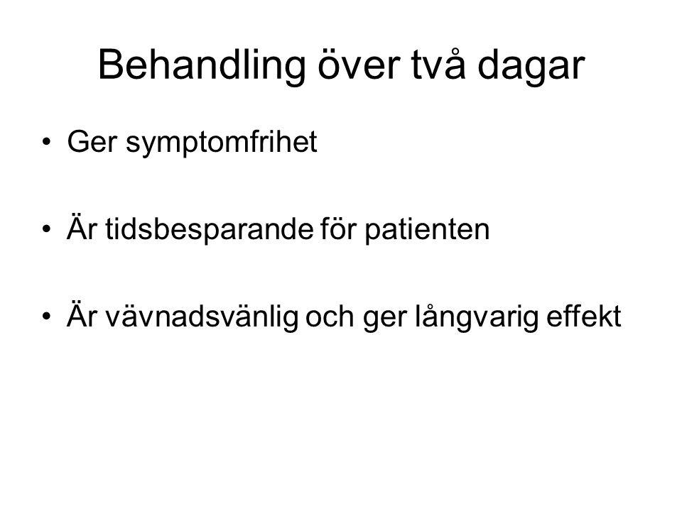 Behandling över två dagar •Ger symptomfrihet •Är tidsbesparande för patienten •Är vävnadsvänlig och ger långvarig effekt