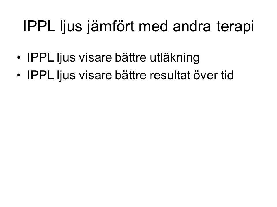 IPPL ljus jämfört med andra terapi •IPPL ljus visare bättre utläkning •IPPL ljus visare bättre resultat över tid