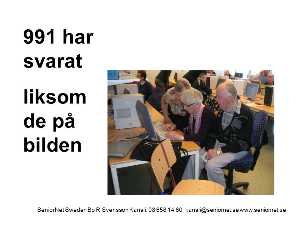 991 har svarat liksom de på bilden SeniorNet Sweden Bo R Svensson Kansli: 08 658 14 60 kansli@seniornet.se www.seniornet.se