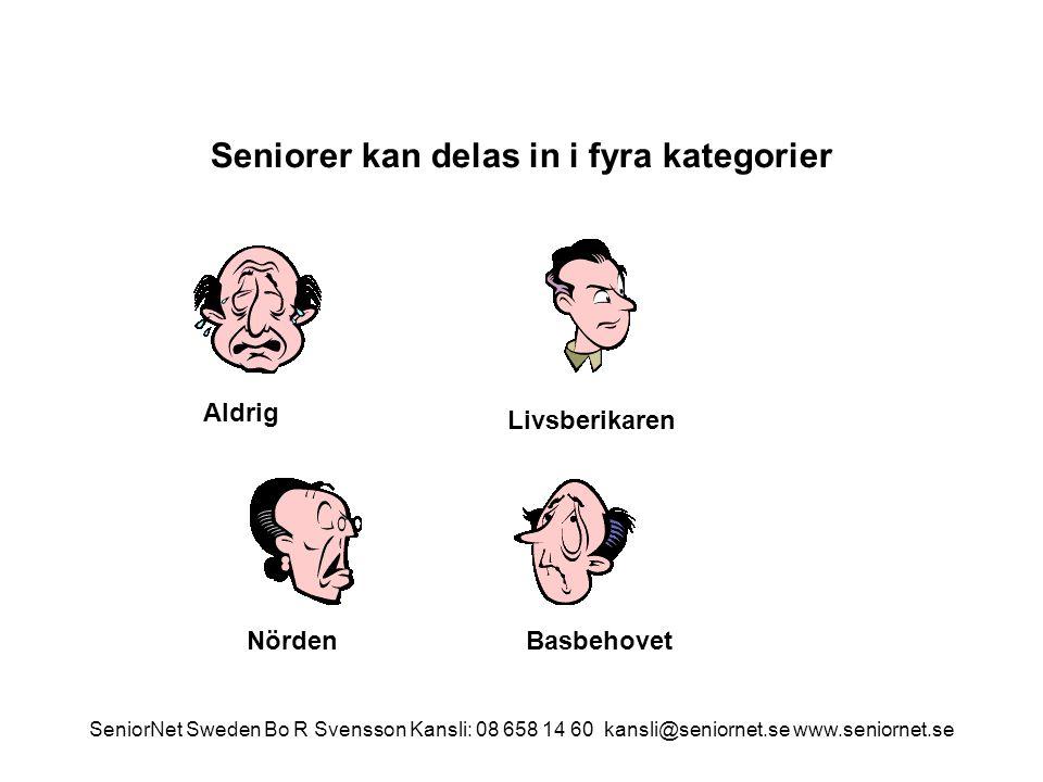 Seniorer kan delas in i fyra kategorier Aldrig NördenBasbehovet Livsberikaren SeniorNet Sweden Bo R Svensson Kansli: 08 658 14 60 kansli@seniornet.se