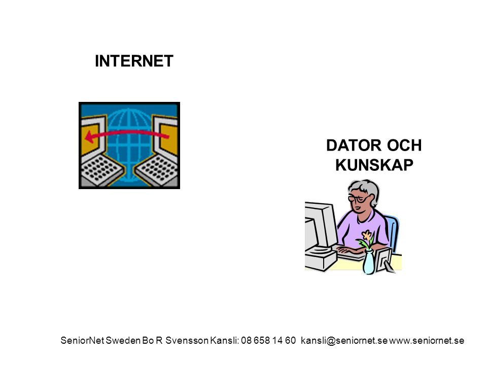 INTERNET DATOR OCH KUNSKAP SeniorNet Sweden Bo R Svensson Kansli: 08 658 14 60 kansli@seniornet.se www.seniornet.se