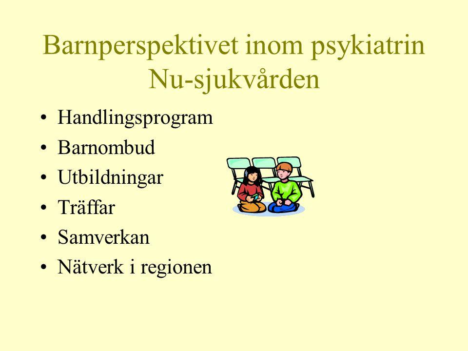 Barnperspektivet inom psykiatrin Nu-sjukvården •Handlingsprogram •Barnombud •Utbildningar •Träffar •Samverkan •Nätverk i regionen