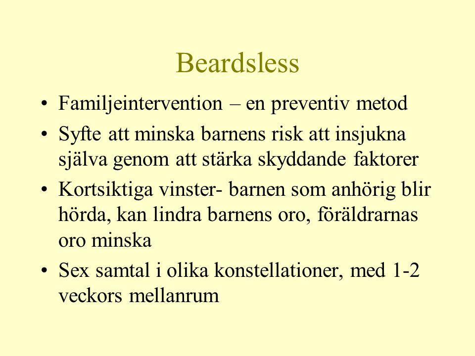 Beardsless •Familjeintervention – en preventiv metod •Syfte att minska barnens risk att insjukna själva genom att stärka skyddande faktorer •Kortsikti