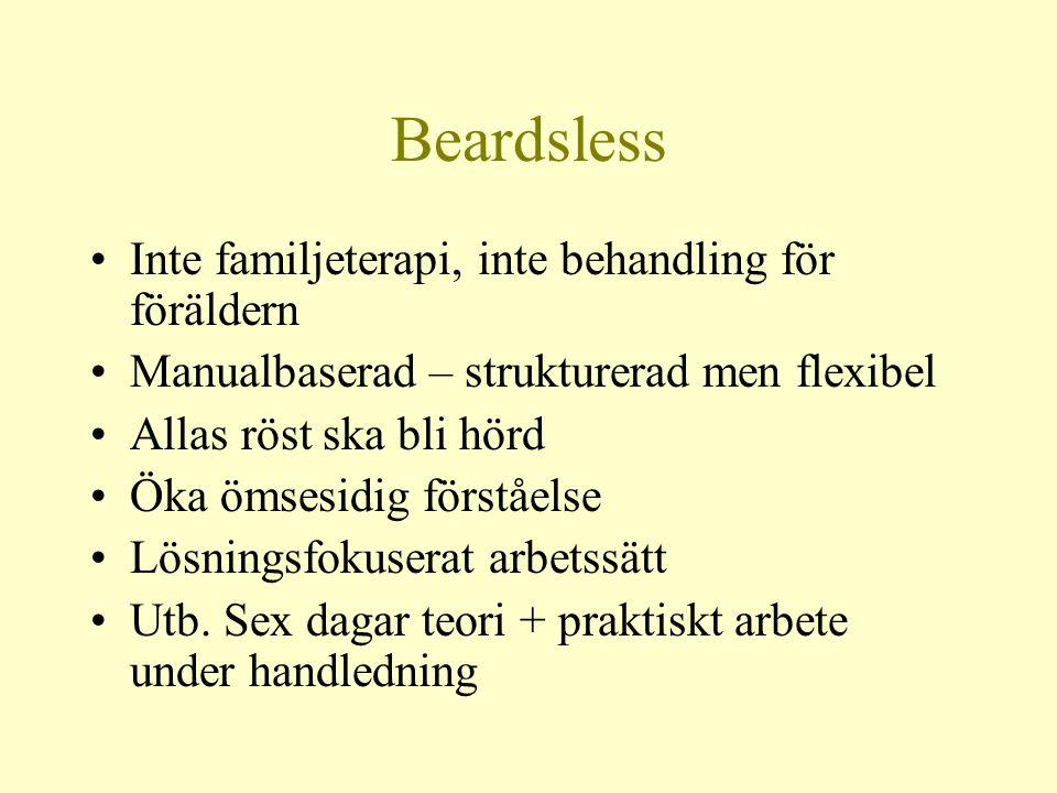 Beardsless •Inte familjeterapi, inte behandling för föräldern •Manualbaserad – strukturerad men flexibel •Allas röst ska bli hörd •Öka ömsesidig först