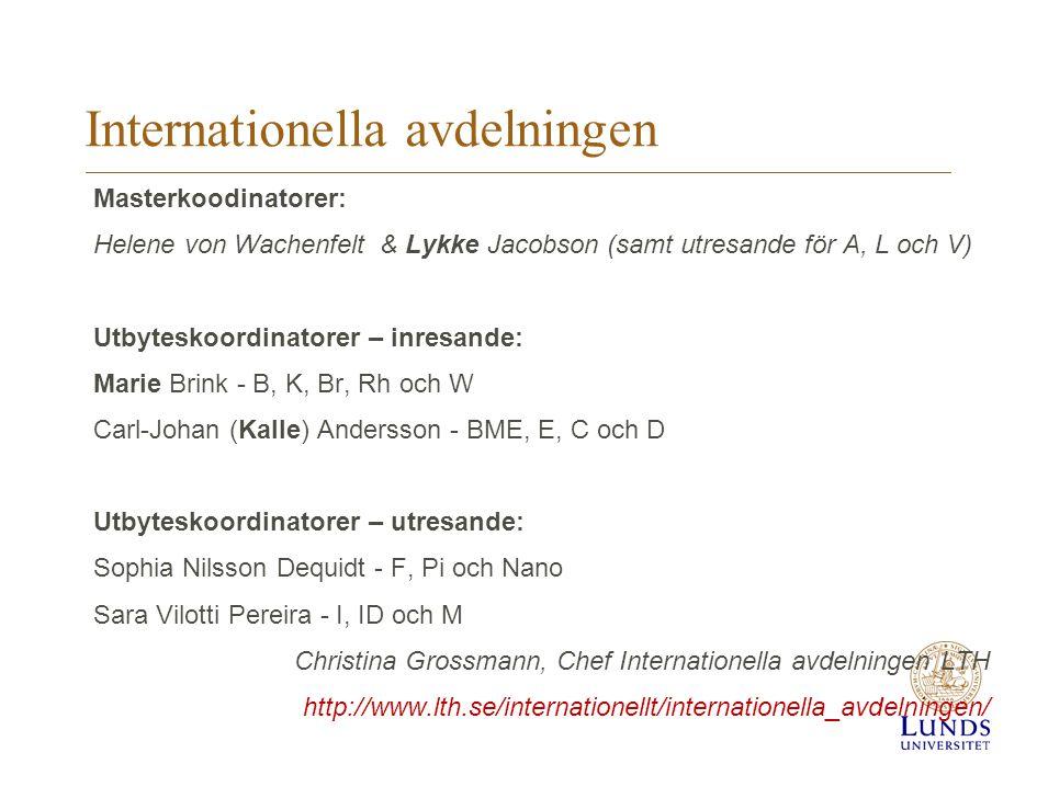 Internationella avdelningen Masterkoodinatorer: Helene von Wachenfelt & Lykke Jacobson (samt utresande för A, L och V) Utbyteskoordinatorer – inresand