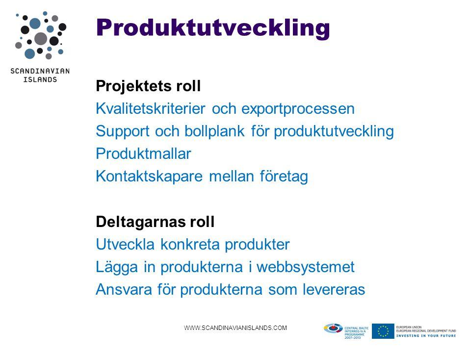 Produktutveckling Projektets roll Kvalitetskriterier och exportprocessen Support och bollplank för produktutveckling Produktmallar Kontaktskapare mellan företag Deltagarnas roll Utveckla konkreta produkter Lägga in produkterna i webbsystemet Ansvara för produkterna som levereras WWW.SCANDINAVIANISLANDS.COM
