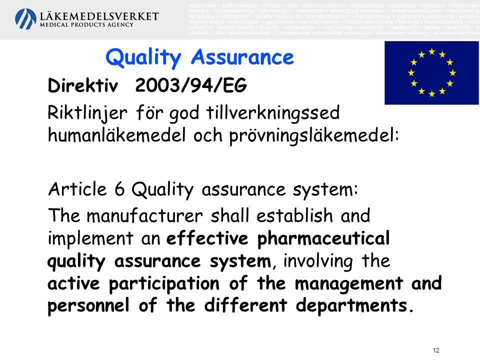 12 Quality Assurance Direktiv 2003/94/EG Riktlinjer för god tillverkningssed humanläkemedel och prövningsläkemedel: Article 6 Quality assurance system