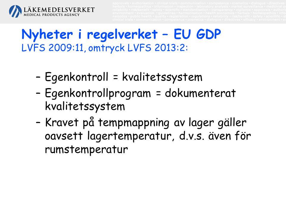 Nyheter i regelverket – EU GDP LVFS 2009:11, omtryck LVFS 2013:2: –Egenkontroll = kvalitetssystem –Egenkontrollprogram = dokumenterat kvalitetssystem –Kravet på tempmappning av lager gäller oavsett lagertemperatur, d.v.s.