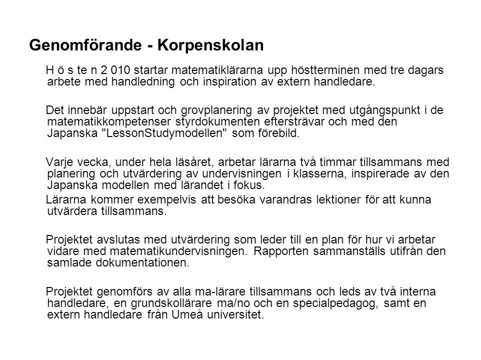 Genomförande - Korpenskolan H ö s te n 2 010 startar matematiklärarna upp höstterminen med tre dagars arbete med handledning och inspiration av extern