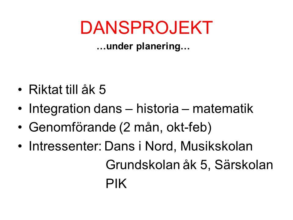 DANSPROJEKT •Riktat till åk 5 •Integration dans – historia – matematik •Genomförande (2 mån, okt-feb) •Intressenter: Dans i Nord, Musikskolan Grundsko