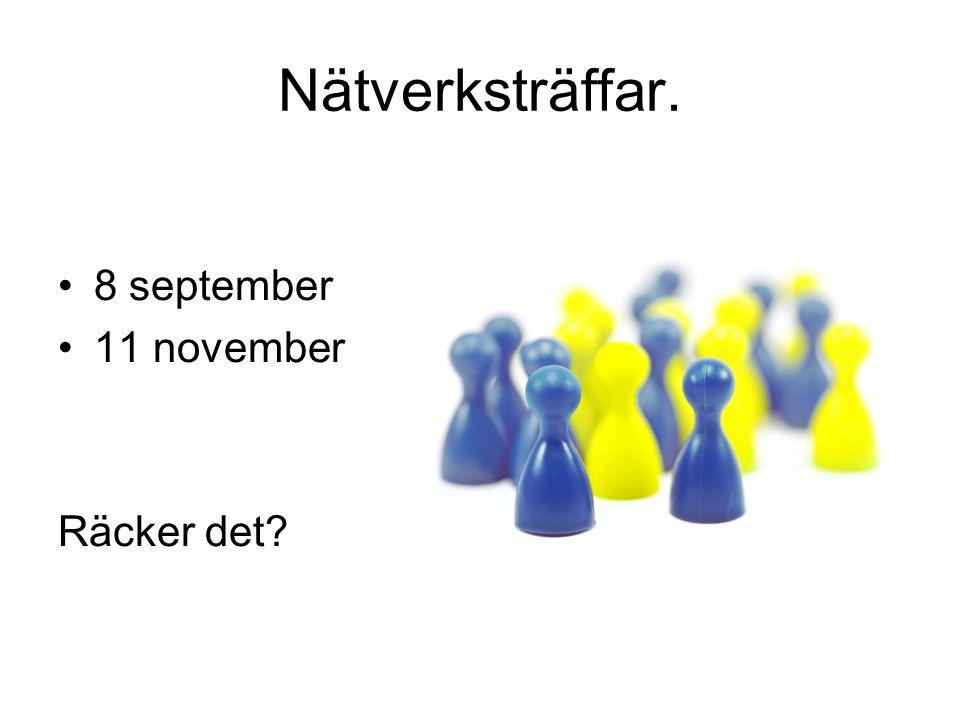 Nätverksträffar. •8 september •11 november Räcker det?
