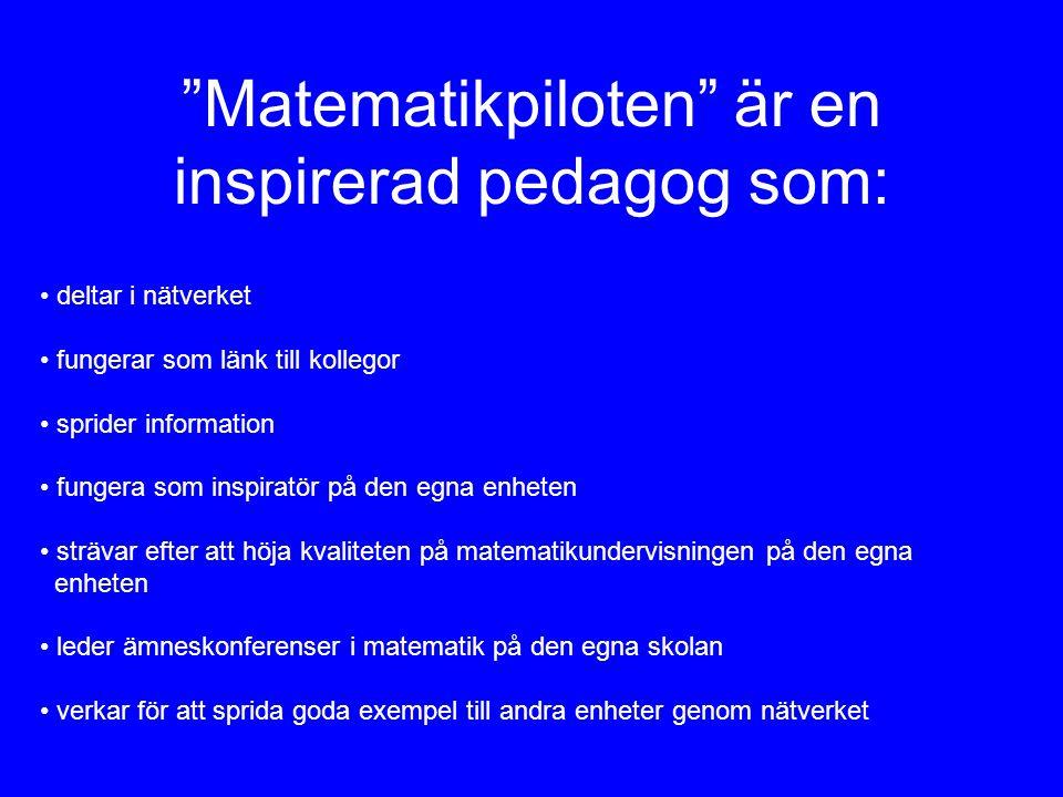 """""""Matematikpiloten"""" är en inspirerad pedagog som: • deltar i nätverket • fungerar som länk till kollegor • sprider information • fungera som inspiratör"""