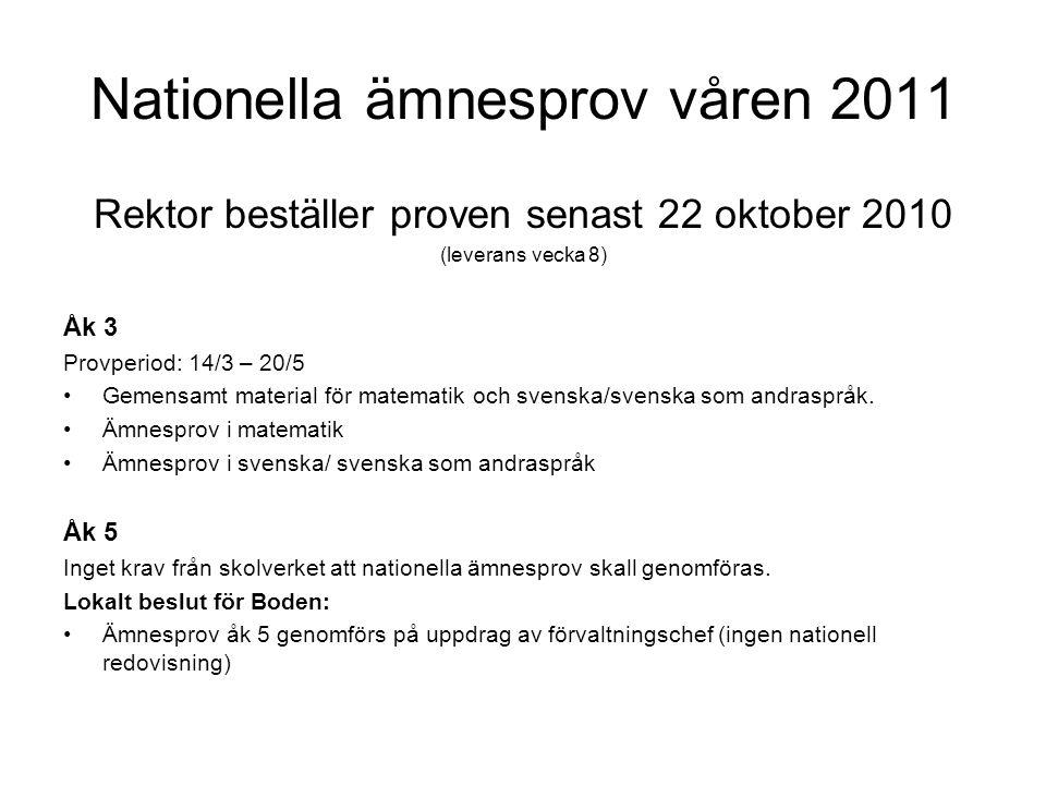 Nationella ämnesprov våren 2011 Rektor beställer proven senast 22 oktober 2010 (leverans vecka 8) Åk 3 Provperiod: 14/3 – 20/5 •Gemensamt material för