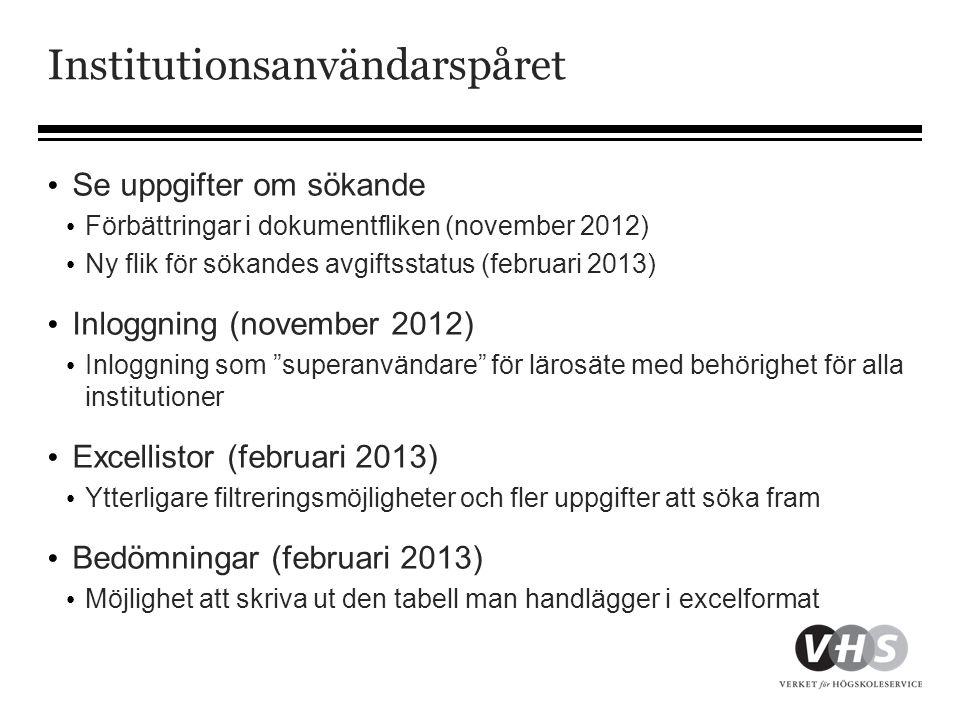 Institutionsanvändarspåret • Se uppgifter om sökande • Förbättringar i dokumentfliken (november 2012) • Ny flik för sökandes avgiftsstatus (februari 2