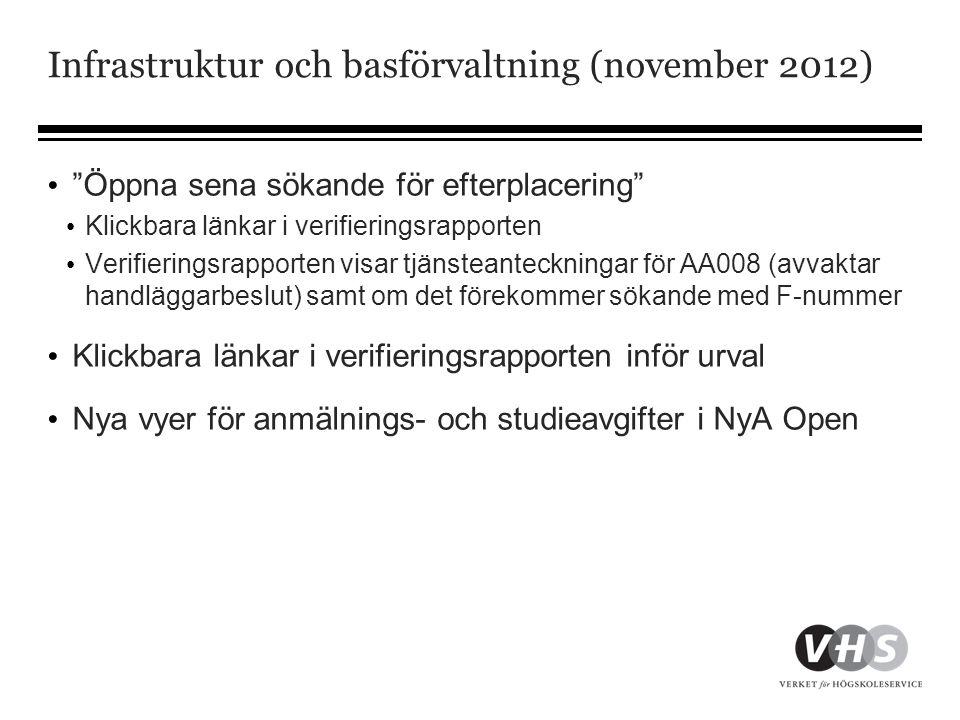 """Infrastruktur och basförvaltning (november 2012) • """"Öppna sena sökande för efterplacering"""" • Klickbara länkar i verifieringsrapporten • Verifieringsra"""