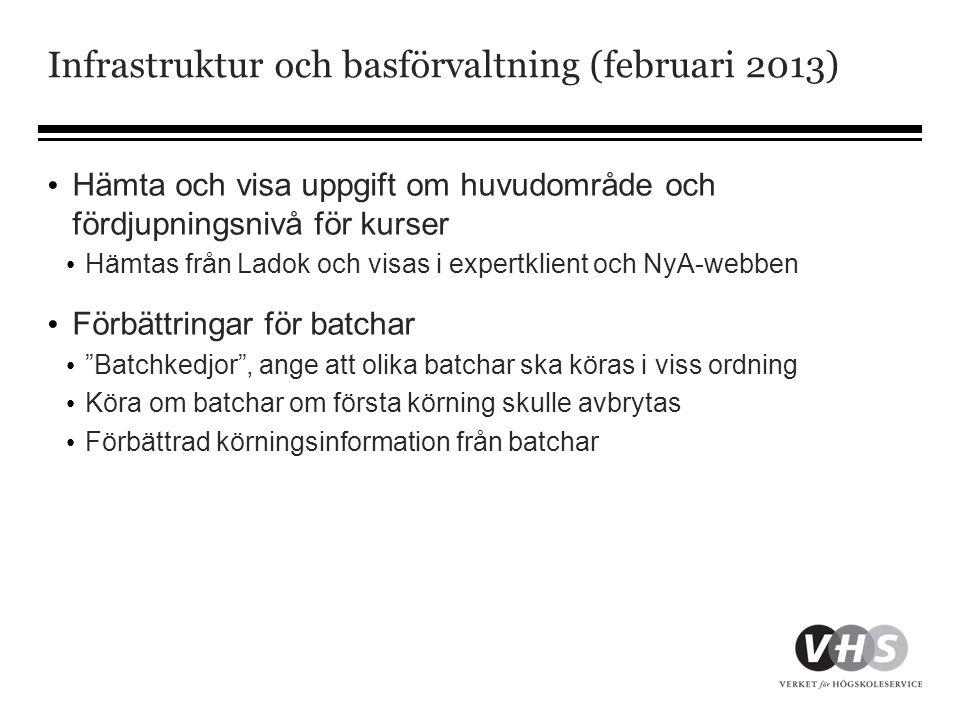 Infrastruktur och basförvaltning (februari 2013) • Hämta och visa uppgift om huvudområde och fördjupningsnivå för kurser • Hämtas från Ladok och visas