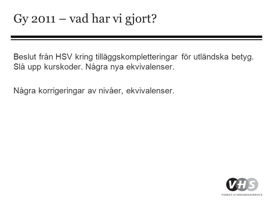 Gy 2011 – vad har vi gjort? Beslut från HSV kring tilläggskompletteringar för utländska betyg. Slå upp kurskoder. Några nya ekvivalenser. Några korrig