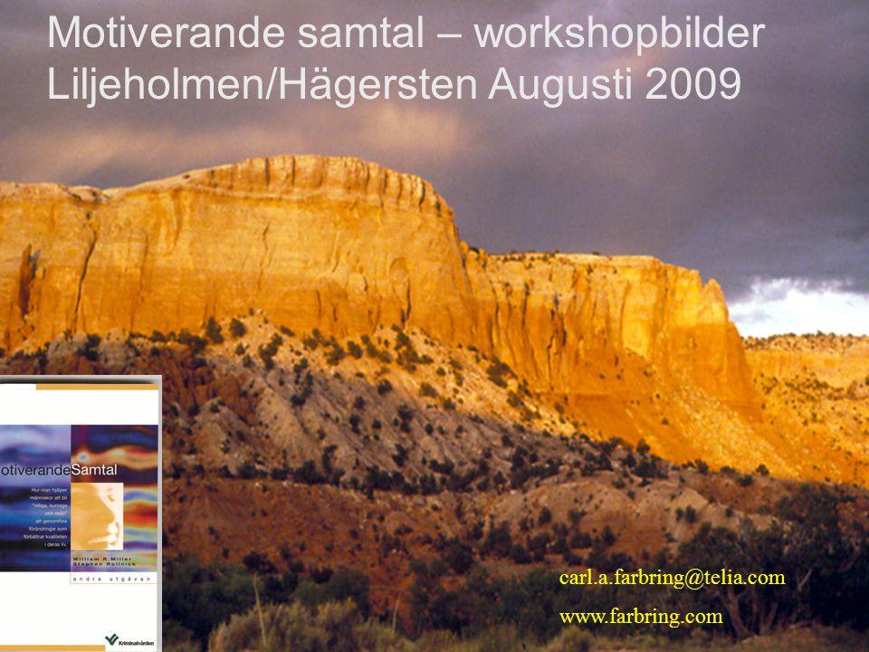 Motiverande samtal – workshopbilder Liljeholmen/Hägersten Augusti 2009 carl.a.farbring@telia.com www.farbring.com