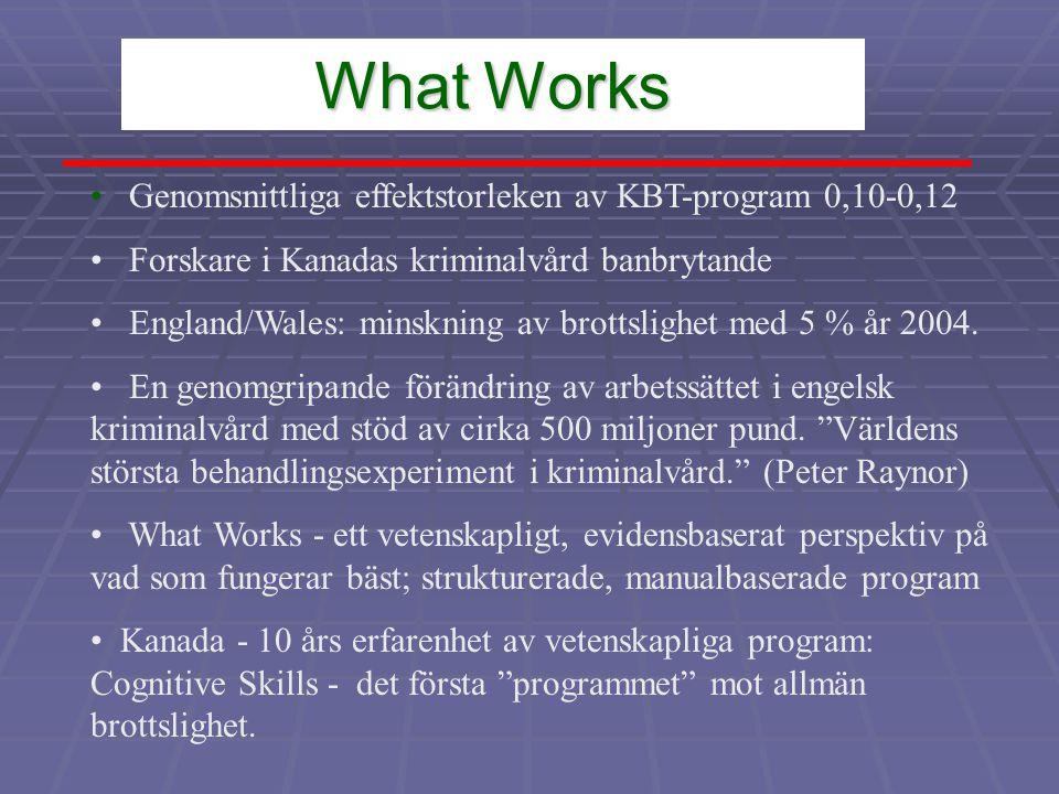 What Works • Genomsnittliga effektstorleken av KBT-program 0,10-0,12 • Forskare i Kanadas kriminalvård banbrytande • England/Wales: minskning av brottslighet med 5 % år 2004.