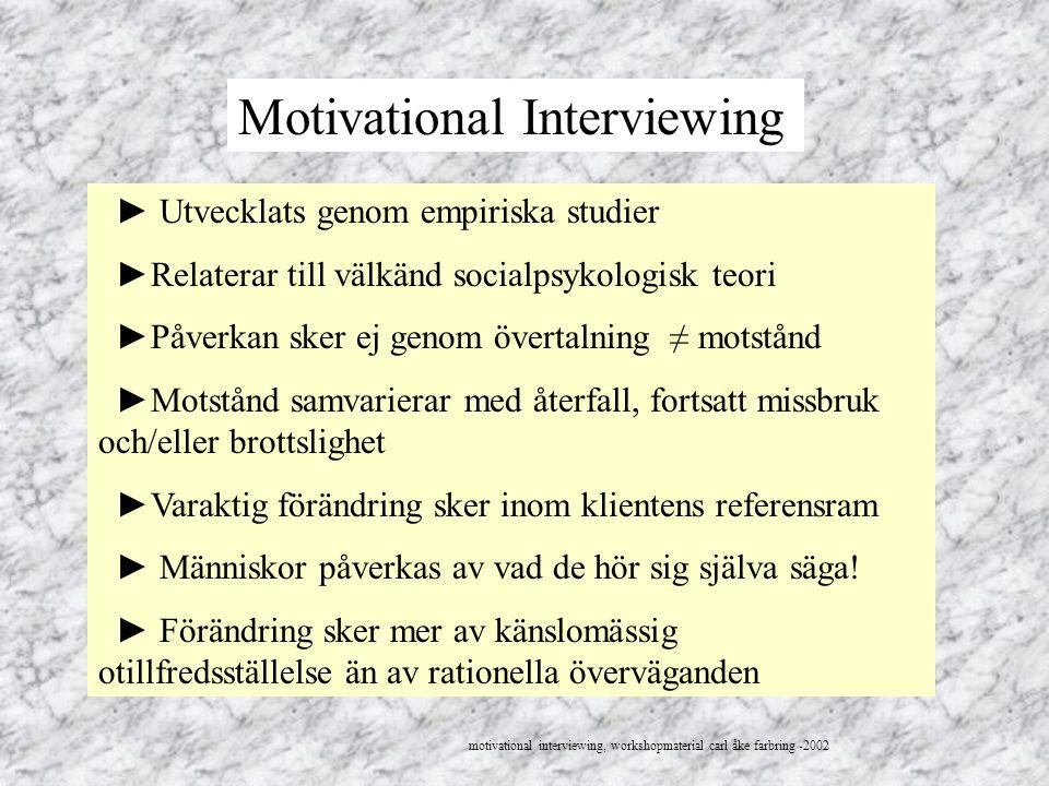 Motivational Interviewing ► Utvecklats genom empiriska studier ►Relaterar till välkänd socialpsykologisk teori ►Påverkan sker ej genom övertalning ≠ m