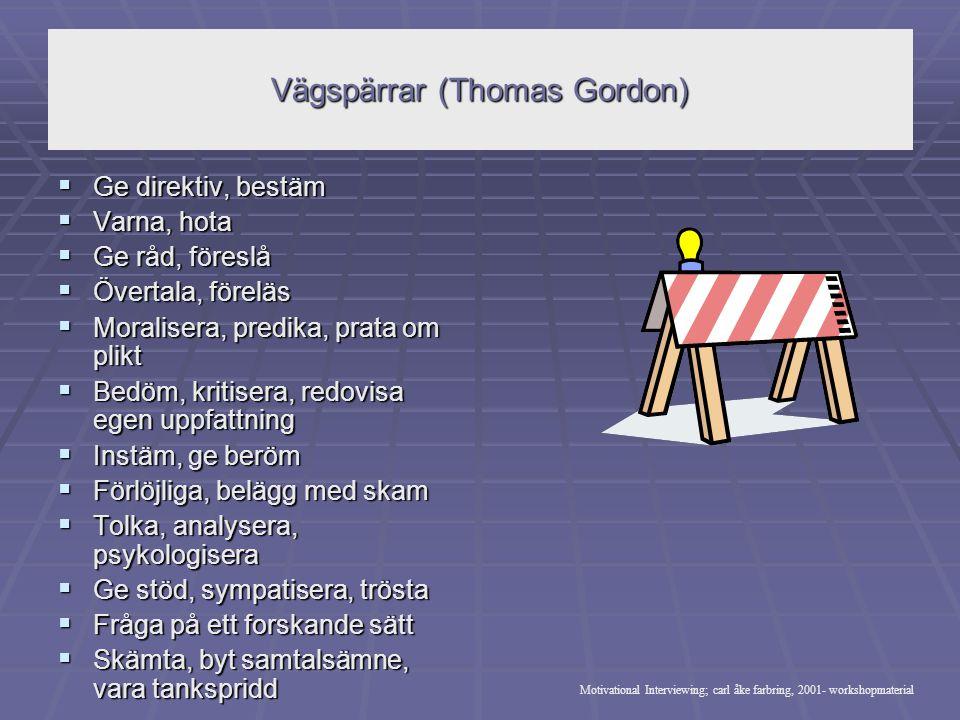 Vägspärrar (Thomas Gordon)  Ge direktiv, bestäm  Varna, hota  Ge råd, föreslå  Övertala, föreläs  Moralisera, predika, prata om plikt  Bedöm, kr