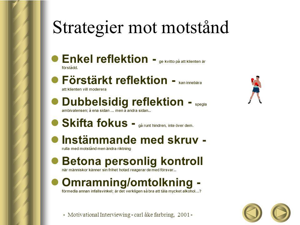 - Motivational Interviewing - carl åke farbring, 2001 - Strategier mot motstånd  Enkel reflektion - ge kvitto på att klienten är förstådd.  Förstärk
