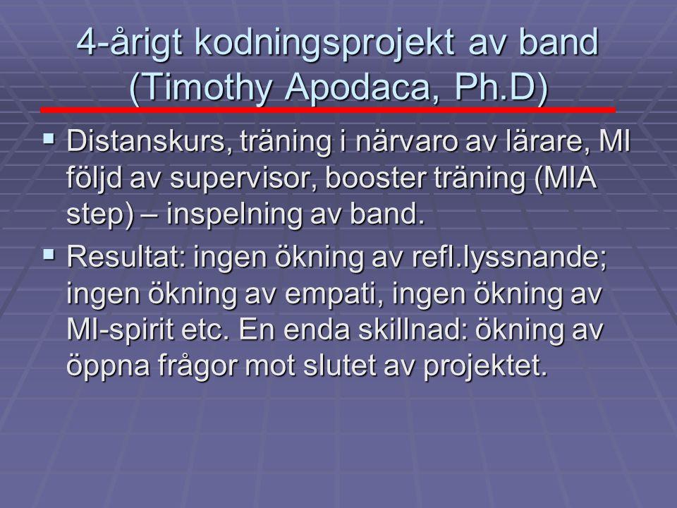 4-årigt kodningsprojekt av band (Timothy Apodaca, Ph.D)  Distanskurs, träning i närvaro av lärare, MI följd av supervisor, booster träning (MIA step) – inspelning av band.