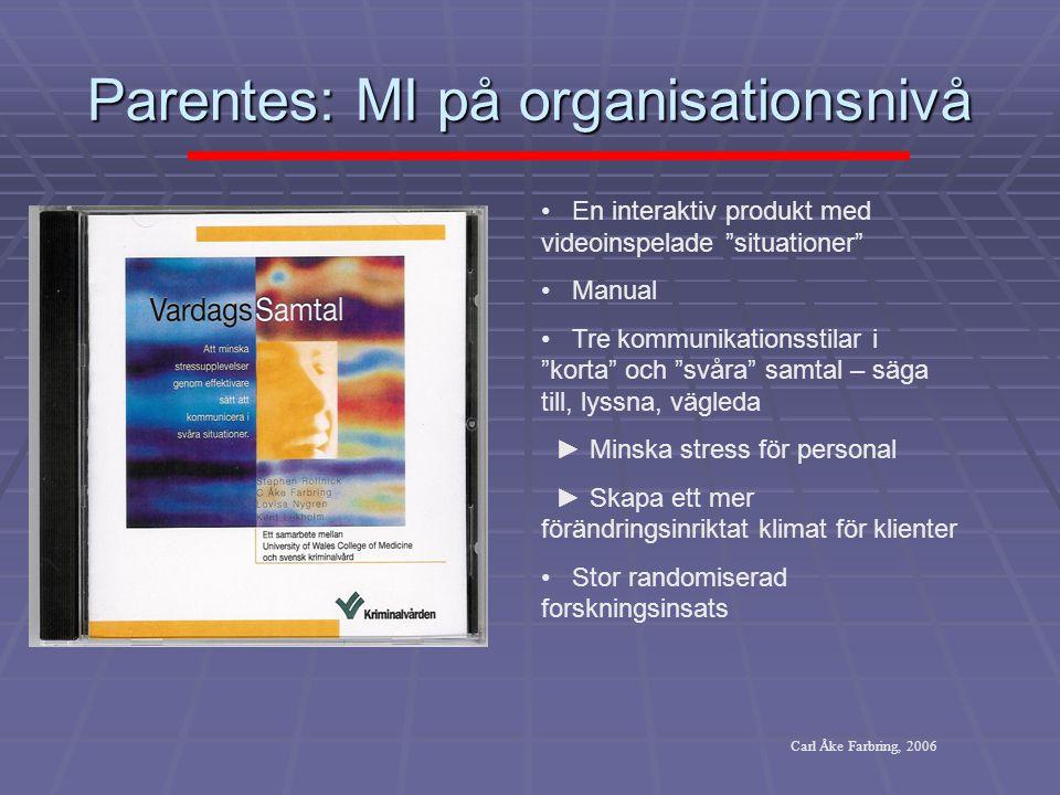 """Parentes: MI på organisationsnivå • En interaktiv produkt med videoinspelade """"situationer"""" • Manual • Tre kommunikationsstilar i """"korta"""" och """"svåra"""" s"""