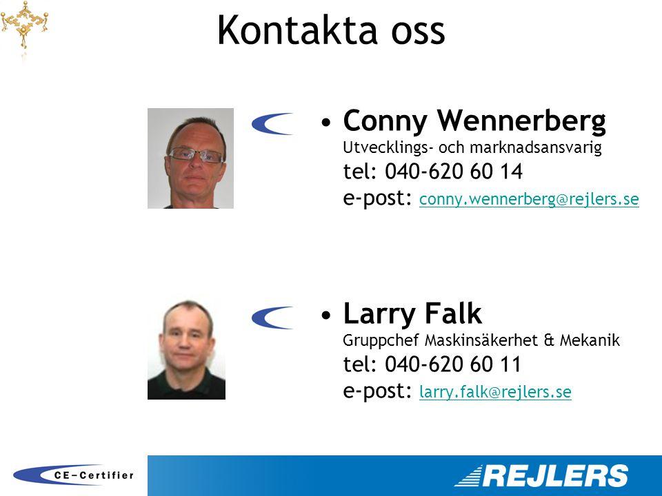 Kontakta oss •Conny Wennerberg Utvecklings- och marknadsansvarig tel: 040-620 60 14 e-post: conny.wennerberg@rejlers.se conny.wennerberg@rejlers.se •L